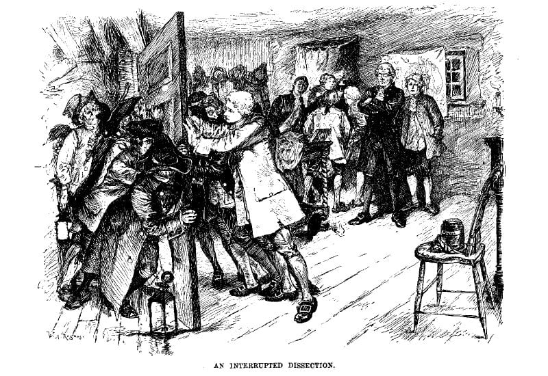 A scene in pencil or charcoal. A young man attempts to keep closed a door being pushed open by a hoard of people. Those inside the room seem to be gathered around something (presumably a cadaver)