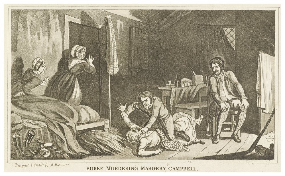 The painting depicts a man strangling a woman as two women seem to shout in distress. Another man occupied a chair in the room.