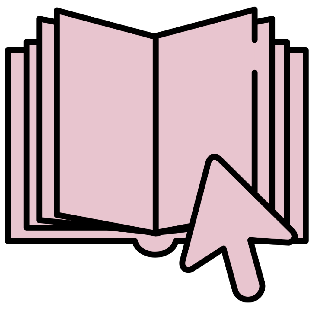 A book with a cursor hovering over it